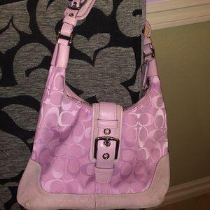 💗COACH Canvas and Suede Shoulder Bag
